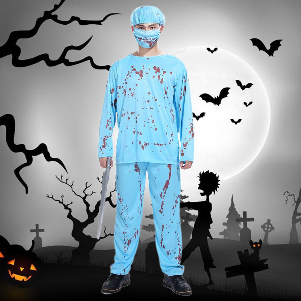 Men Cosplay Set Holiday Party Costumes Halloween Adult Cosplay Wacky Doctor Costumes Horror Bloody Male Surgeon Style Costumes