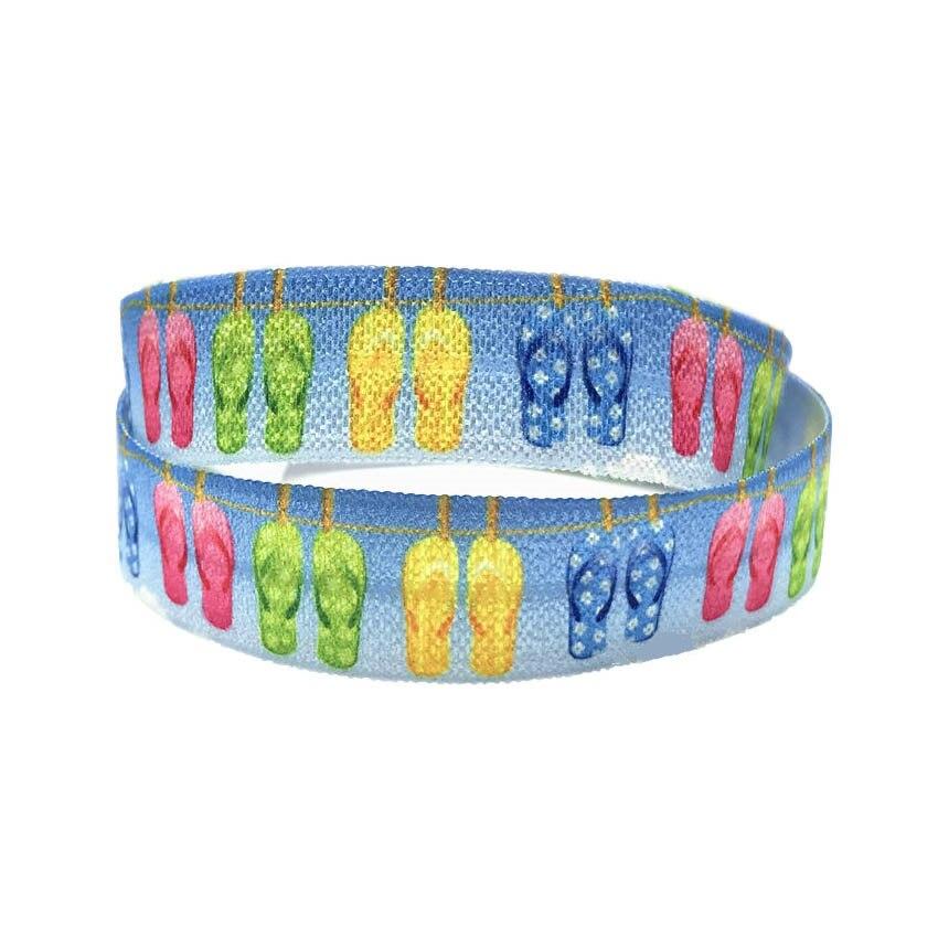 16mm 10 Yards Flip Flops Print Fold Over Elastic Ribbon Summer Colorful Slipper FOE Headband Diy Party Decoration Wholesale