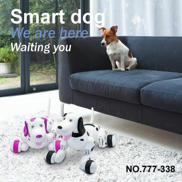 RC marche chien 2.4G télécommande sans fil chien intelligent électronique Pet Robot chien programmation Action course et danse vrais regards