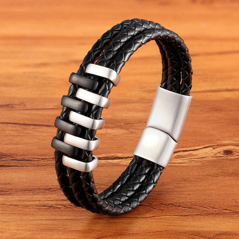 TYO Boys Mens Unisex Italian Black Layered Genuine Leather Charm Bracelets with Stainless Steel Magnetic Clasp Sizes 19/21/23CM