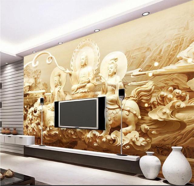 3d wallpaper custom photo mural living room buddha wood carving 3d ...