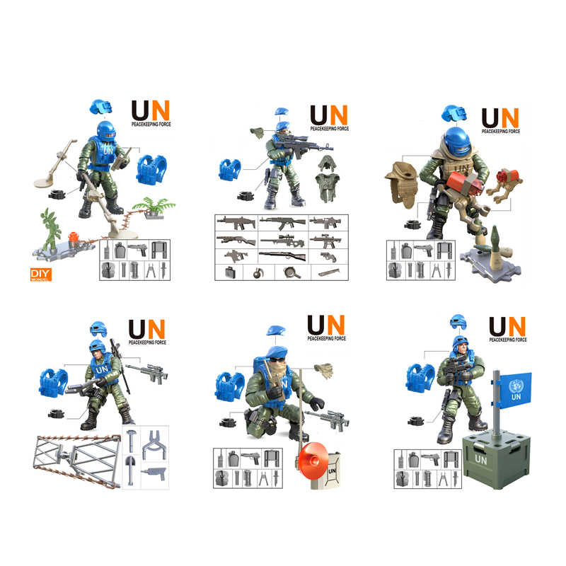 1:36 scale Modern military action figures United Nations Peacekeeping mega building block weapon bricks toys for boys gifts