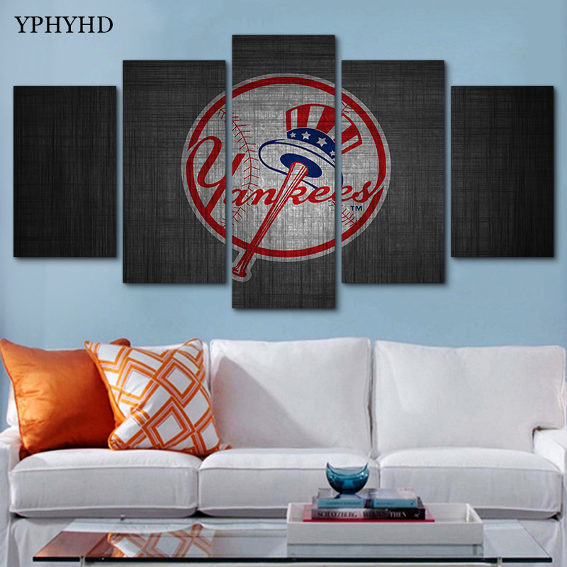 YPHYHD 5 Pieces Modular Wall Paintings Yankees Canvas Painting Print ...