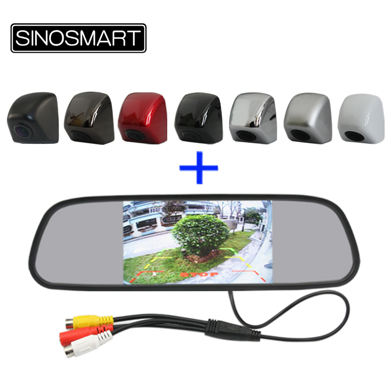 Sinosmart Rearview-Mirror-Monitor Parking-Camera Package 5inch Combo With 12V/24V