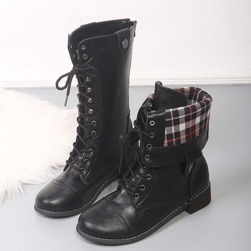 Cuero Las Calzado Goma Tamaño Black Nuevas Mujeres calf Tacón 2019 Dropshipping Brown Botas Zapatos De Exclusivo Mujer Negro Encaje mid Botines Plus dark xqXOwdT7