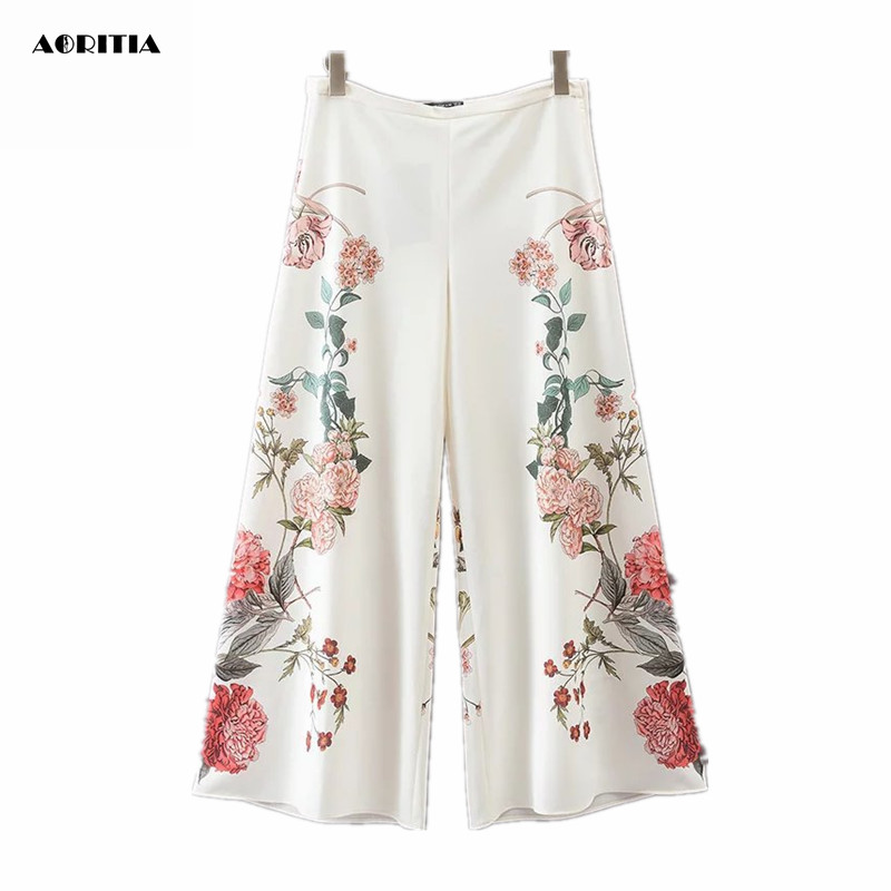 2018 Summer Floral Print Trousers Women   Wide     Leg     Pants   Pantalones Mujer
