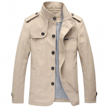 Autumn Winter Fashion Men Jacket Large Size M-4XL Stand Collar Classical Casual Thick Woolen Outwear Business Coats