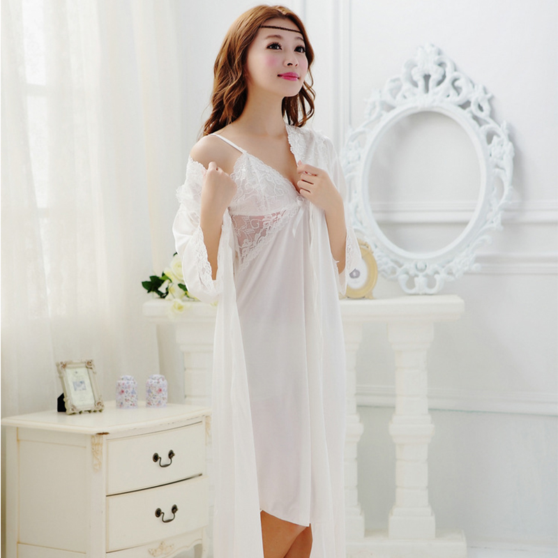 cfb30c0b24a1 2018 Summer Long White Nightgown Princess Sleeping Dress Women Nightgowns  Long Robe Vintage Camisones de Dormir Sleepwear 48-in Nightgowns    Sleepshirts ...