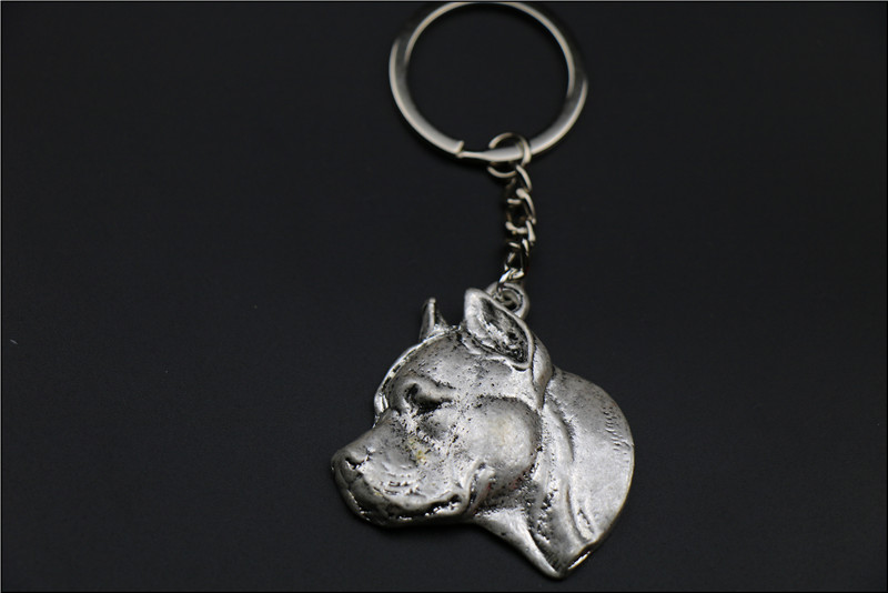 American Staffordshire Terrier embossed Key Chain Popular Pit Bull Terrier dog embossed Key Chain fast delivery все цены