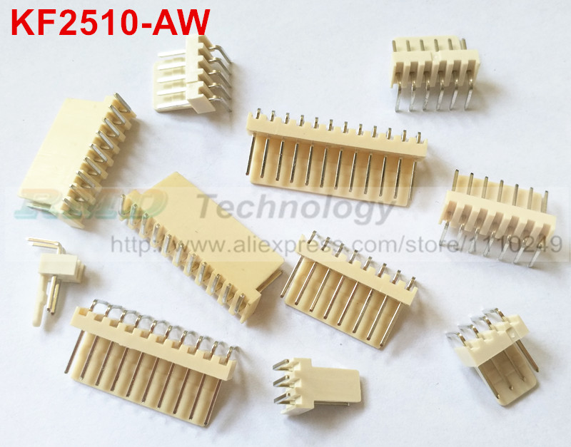 50pcs/lot KF2510 KF2510-2-12AW 2510 2.54 mm male connector right angle Pin header 2.54mm 2,3,4,5,6-12pin free shipping