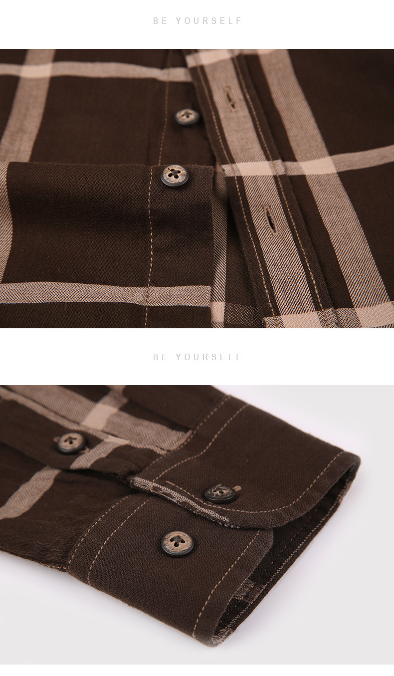 Spring Wholesale Casual Flannel Shirts Single Breasted long sleeve Full thick shirts Men's plaid high quality size M-2XL3XL 16