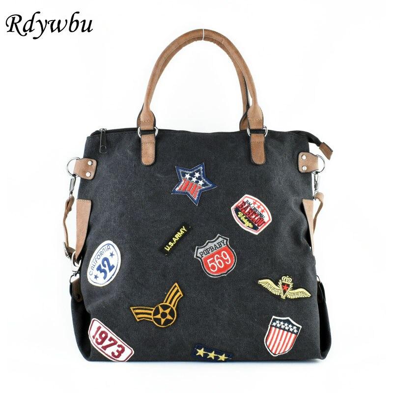 Rdywbu Plus Size Fashion Patches Canvas Handbag Women Trendy Shoulder Bag Sequins Star Letters Badges Cross Body Tote Bolsa B415