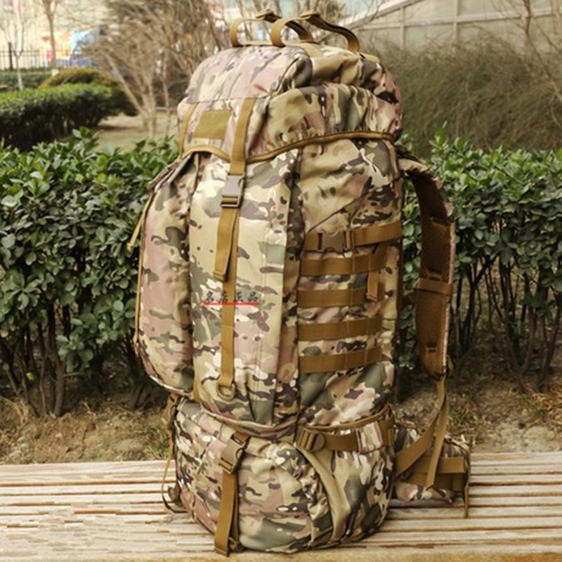 KUNDUI Luggage double-shoulder professional Bags mountaineering bag Camouflage 80 l waterproof backpack canvas travel backpack цена