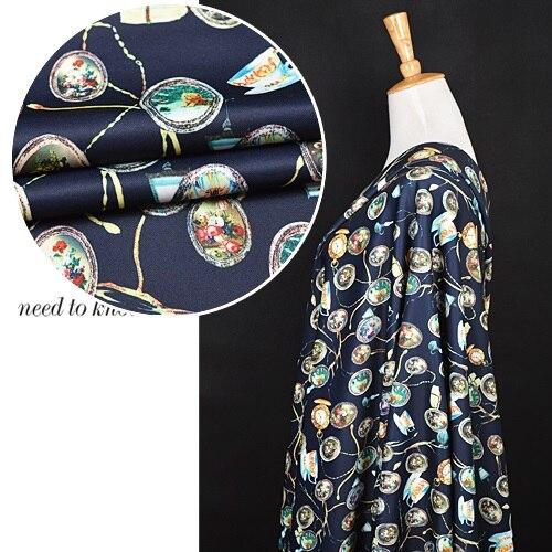 European retro cartoon printing big elastic knitted air layer space cotton fabric jacket dress cloth