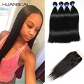 Brazilian Virgin Hair With lace Closure Brazilian Hair 4Bundles Human Hair With Closure Sparkle diva Straight Hair With Closure
