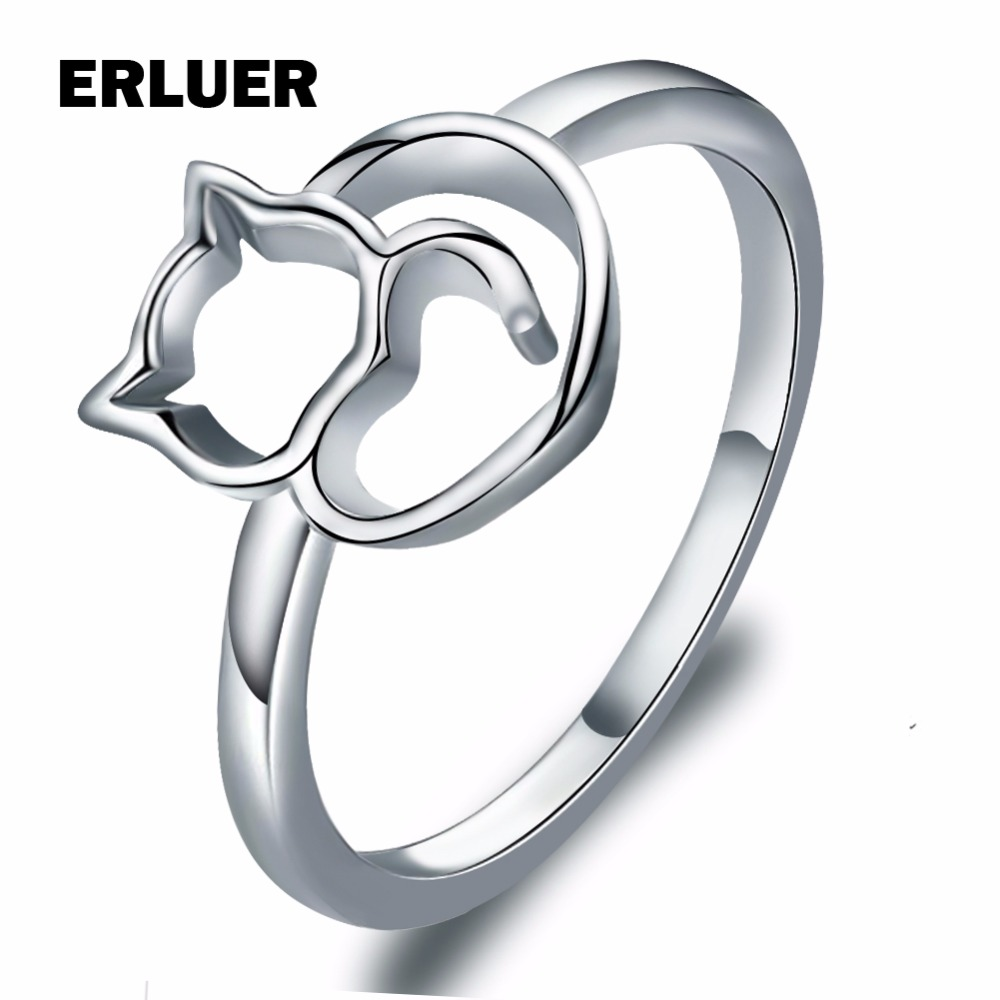Fashion Cute Cat Rings For Women Girls Simple design Silver Plated Finger Animal Ring Wholesale Jewelry Party anel bague femme