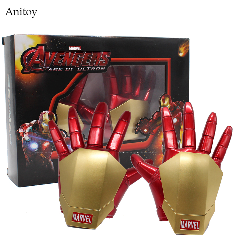 New Avengers Age of Ultron Iron Man Gloves with LED Light For Kids PVC Figure Collectible Model Toy 21cm KT3993 iron man gloves with led light pvc action figures collectible model toy 8 20cm