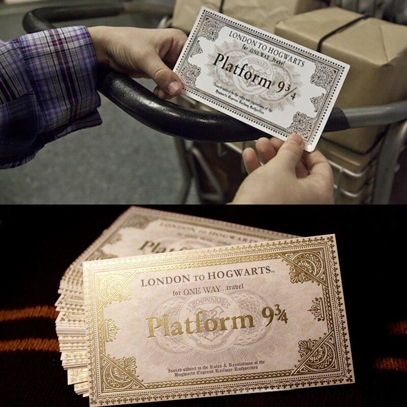 20 stücke/30 stücke/50 stücke Harri Potter Hogwarts London Express Replik Zug Ticket Gilded Papier