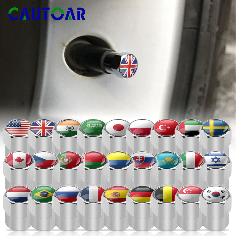 4Pcs/Lot Car Styling National Flag Wheel Tire Valves Tyre Air Caps Case For KIA OPEL Renault Subaru Ford Toyota Nissan Lada Fiat