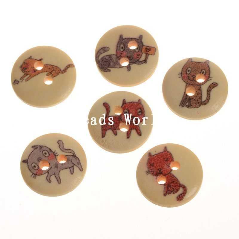 Ξ100 unids mixta lindo gato patrón 2 agujeros madera Costura Botones ...