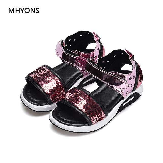 MHYONS Girl Summer Casual Fashion Children Flat with beach Shoes Size 27-36  Cut-outs Sweet Kids Girls Glitter Princess Sandals 2c447b5f6f0c