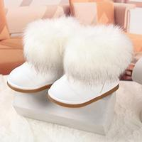 Winter Fashion Child Girls Snow Boots Shoes Warm Plush Soft Bottom Baby Girls Boots Leather Winter