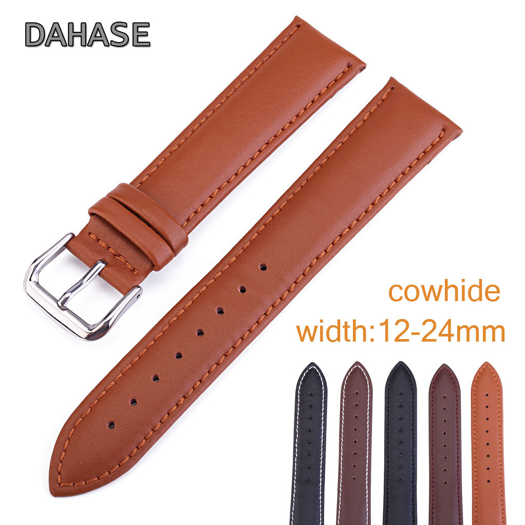 Replacement Genuine Leather Watch Band 12mm 14mm 16mm 18mm 19mm 20mm 22mm 24mm Cowhide Leather Strap Watchband Wrist Bracelet