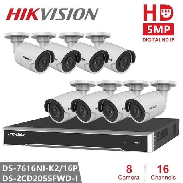 Hikvision Security IP Camera Kits 16CH 16POE NVR 5MP IP Camera DS-2CD2055FWD-I Ultra-Low light Bullet for Outdoor Security CCTV