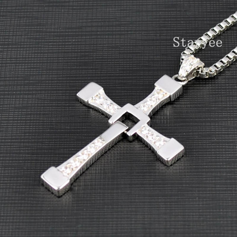 Real 925 Sterling Silver Jewelry Fast And Furious 8 Dominic Toretto Vin Diesel Men Women Cross Pendant Necklace Free Engraving-in Pendants from Jewelry & Accessories    1