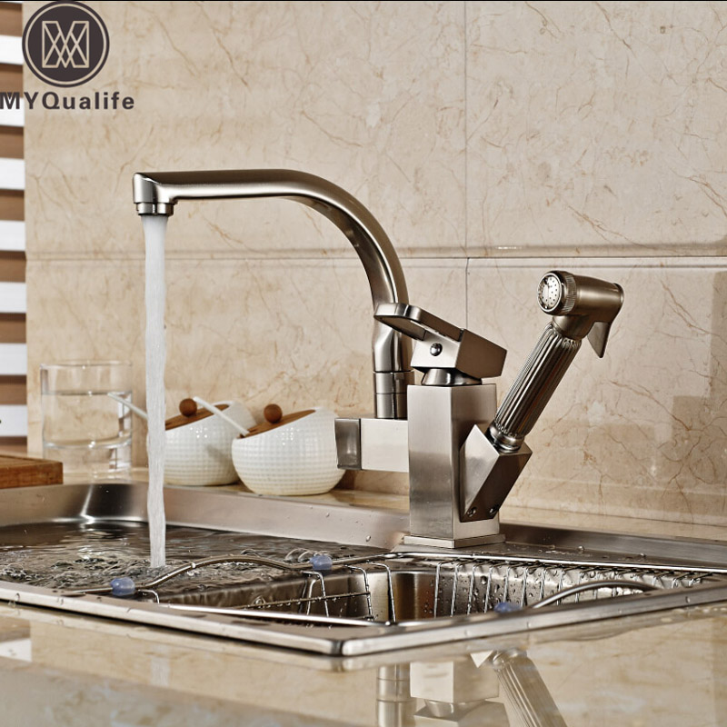 Deck Mount Kitchen Sink Mixer Faucet One Handle Washing Kitchen Taps with Hot Cold Water Brushed Nickel Pull Out Shower Sprayer