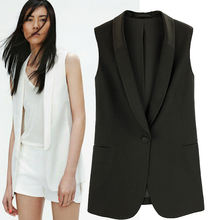 2017 Spring New Arrival One Button Chiffon Suit Vest, Women Black Workwear Sleeveless Jacket