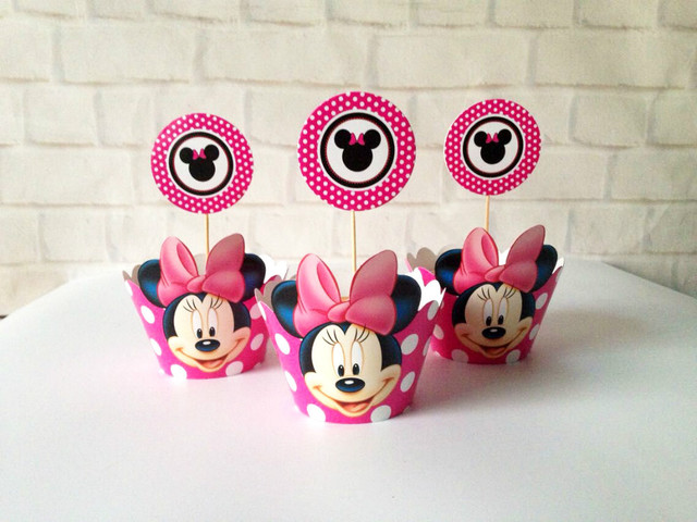 Minnie Mouse Party Supplies Baby Shower Favors Cupcake Cases Cupcake  Wrappers Toppers Cake Picks Birthday Party