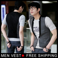 New Fashion Men Waistcoat Gray Patchwork Black Vest Tops Simple V Collar Coat  Size M L XL XXL XXXL Drop Shipping