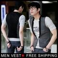 New Fashion Men Waistcoat Gray Patchwork Black Vest Tops Simple V Collar Coat  Size M L XL XXL XXXL Drop Shipping