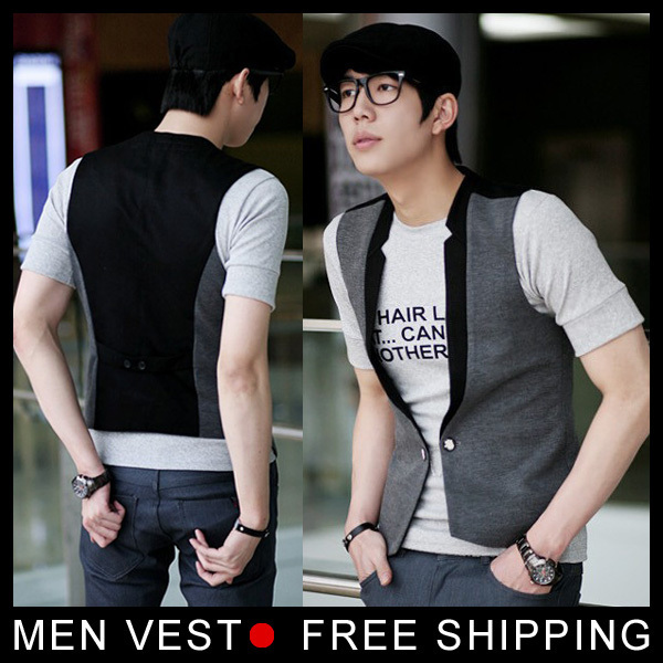 Nova moda colete cinza Patchwork preto Vest Tops simples V tamanho ml XL XXL XXXL gota