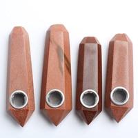 Topsale Fashion COOL 8-10 cm Natuurlijke Kristal Rode Gold Stone Gratis Mini Pijpen Door 4 Stks/set