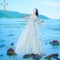 YOSIMI 2018 Summer Long Women Dress Evening Party White Vestido Maxi Vintage Lace Two Pieces Fairy Long Butterfly 3D Embroidery