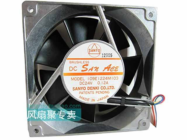 Sanyo Denki 109E1224M103 Server Square Fan DC 24V 0.12A 120x120x38mm 3-wire free shipping emacro mechatronics f1238h12b1 dc 12v 0 440a 3 wire 3 pin connector 110mm 120x120x38mm server cooling square fan