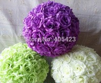 Free shipping 8pcs/lot good quality 25cm wedding centerpiece decoration hanging artificial kissing rose flower ball