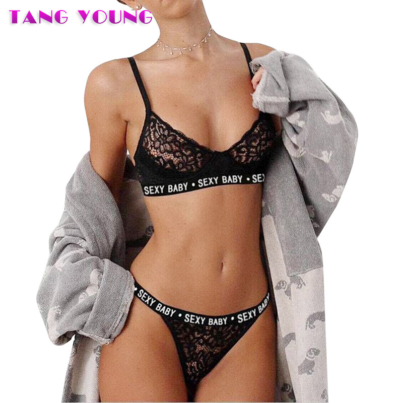 Lace Sexy   Bra     Set   Push Up Seamless Embroidery Bralette Erotic Lingerie   Set   Transparent Women Underwear   Set   G-String Thong   Set