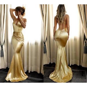 Sexy Gold Mermaid Evening Dresses 2020 vestidos de fiesta de noche Cheap Backless Prom Dress Satin Formal Women Party Gowns