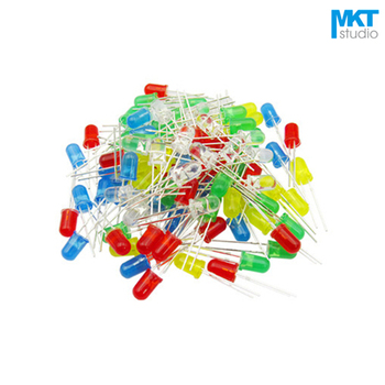 100Pcs Free Shipping Sample 3mm Long Pins Through Hole High Brightness LED Diode Green/Red/Yellow/Blue/White image