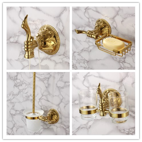 Luxury gold 4-Piece Bathroom Hardware Accessory Set brass copper Robe hook Toothbrush cup Toilet brush Holder Soap basket image