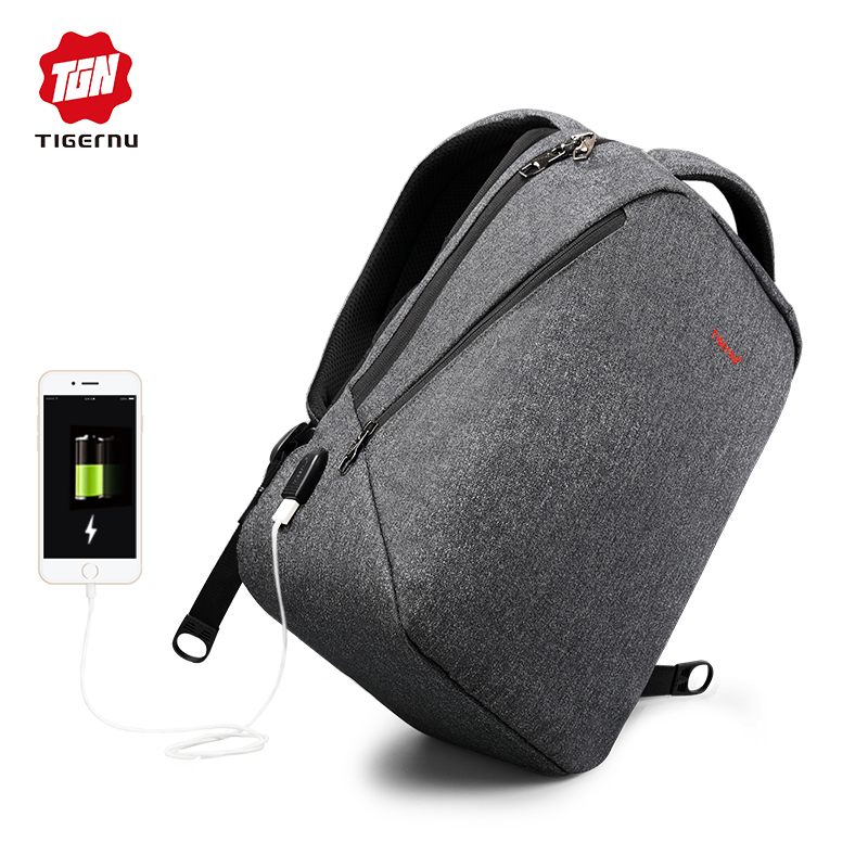 "Tigernu Brand Men Backpack Anti Theft Usb Charge 14"" 17"" Laptop Backpack Male Women School Backpack Schoolbag Back Pack Bag"