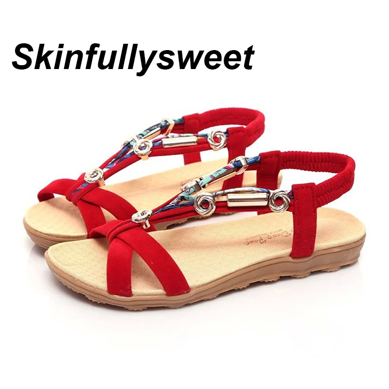 2018 New Summer Flat Sandals Ladies Bohemia Beach Flip Flops Shoes Gladiator Women Shoes Sandles Platform Shoes