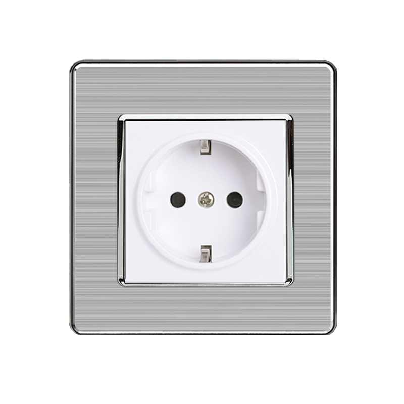 MiniTiger 16A EU Standard Wall Socket Luxury Power Outlet Stainless Steel Brushed Silver Panel Electrical Plug AC 110~250V