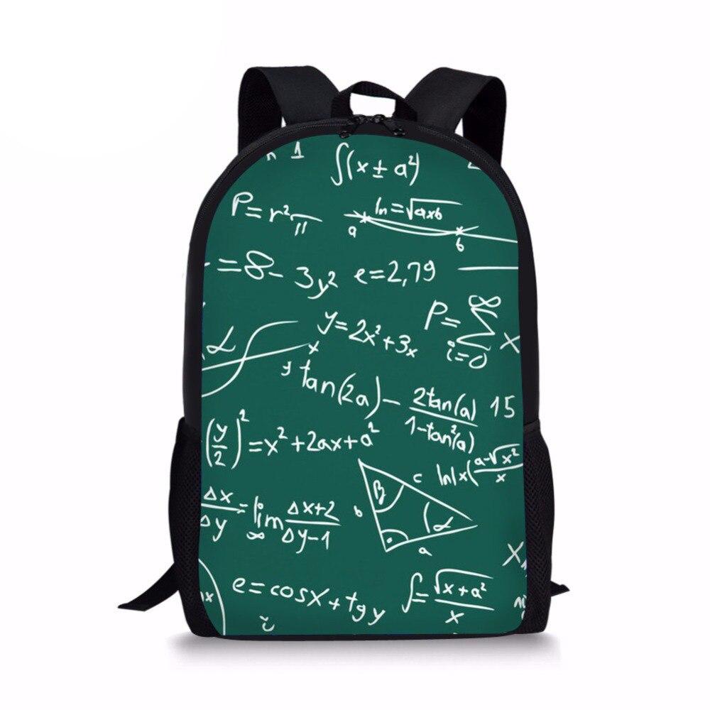 17 Inch Math Formula Backpack For Children Girls Boys Teenage School Backpacks Women 2018 Bagpack Rucksack Sac a dos