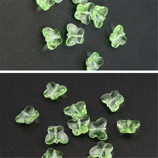 Lt Green 100pc14mm Crystal Butterfly Beads Diy Beads Middle Hole,Wedding Cake Decorative Garland Strand Pendant Ornamental Tree