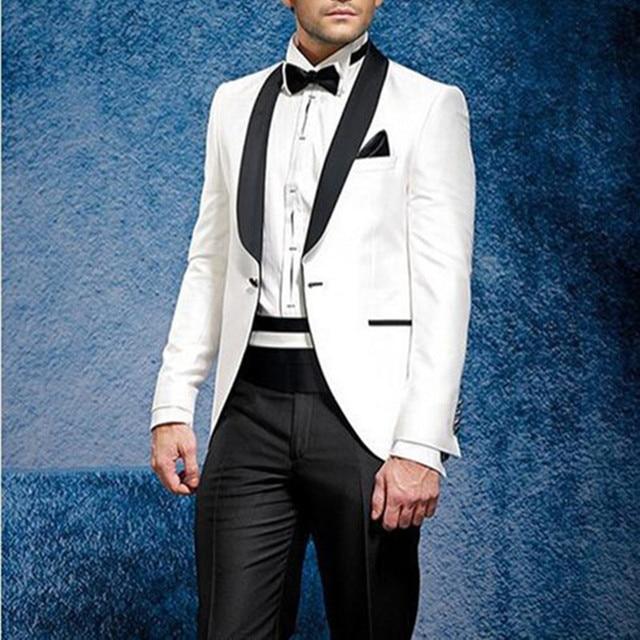 2017 chaqueta blanca negro Pantalones smoking traje de verano playa  Esmoquin hombres traje smoking trajes de bc6fca81245