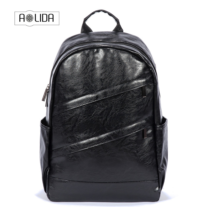 Mens Backpack Black PU Leather Travel Bag Men 14-inch Laptop Backbag Male Leisure High Capacity backpack with Headphone hole